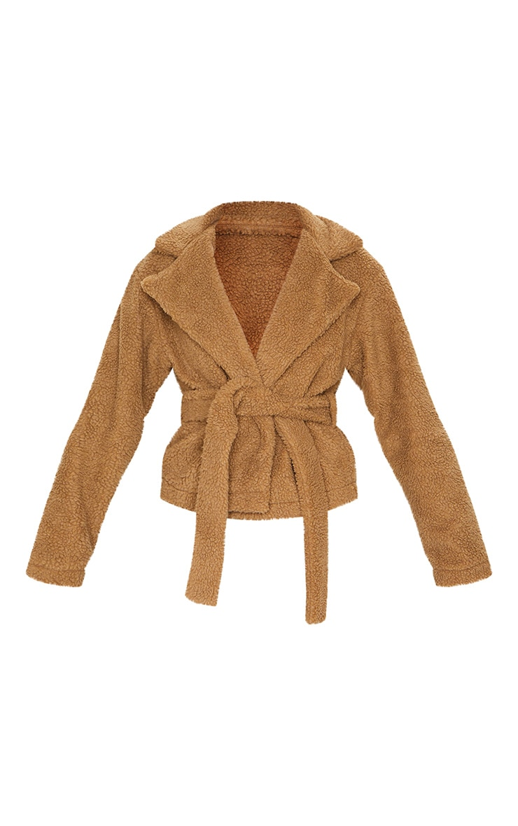 Camel Borg Tie Waist Jacket 5