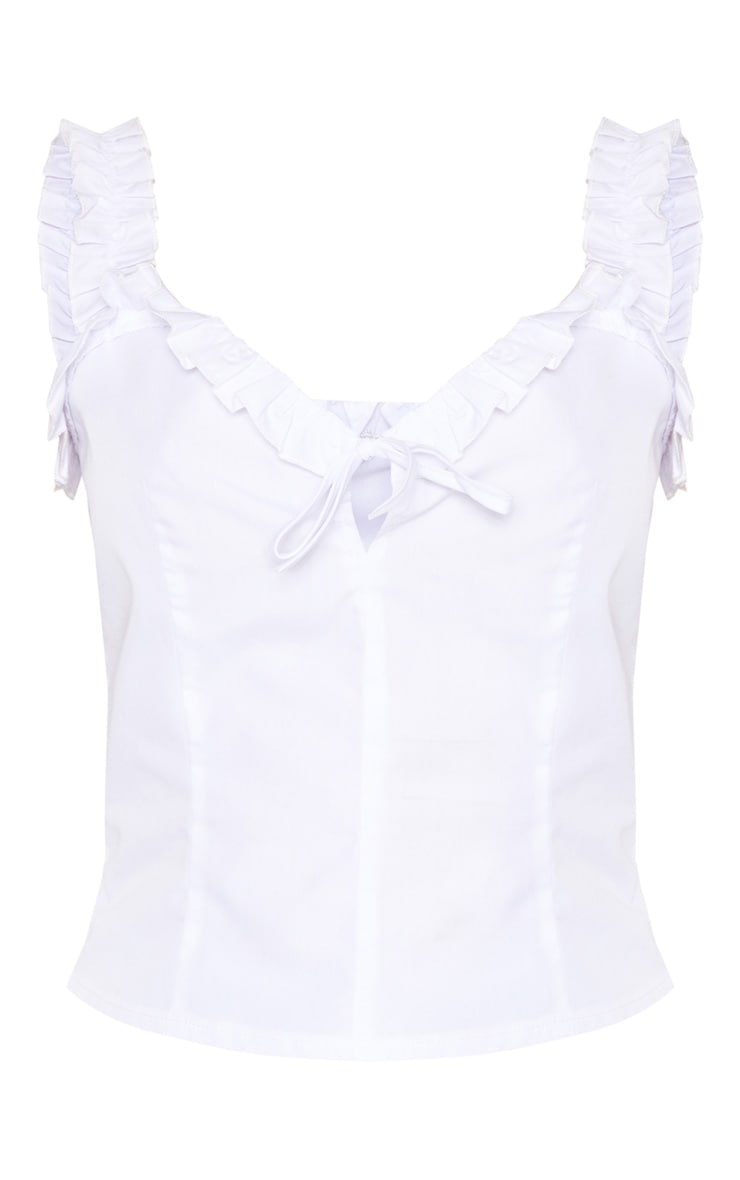 White Frill Hem Woven Cami Top 3