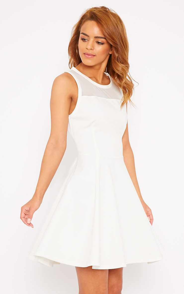 Bridgette White Mesh Panel Skater Dress 3