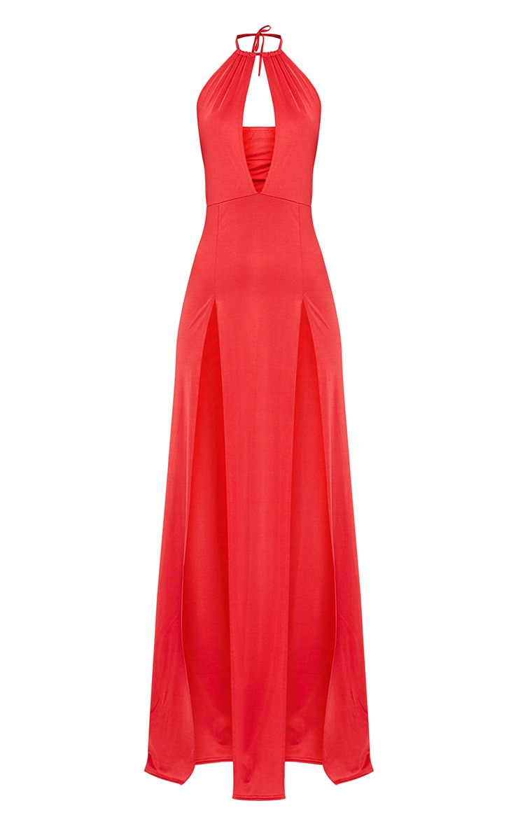Red High Neck Cut Out Detail Extreme Split Maxi Dress 3