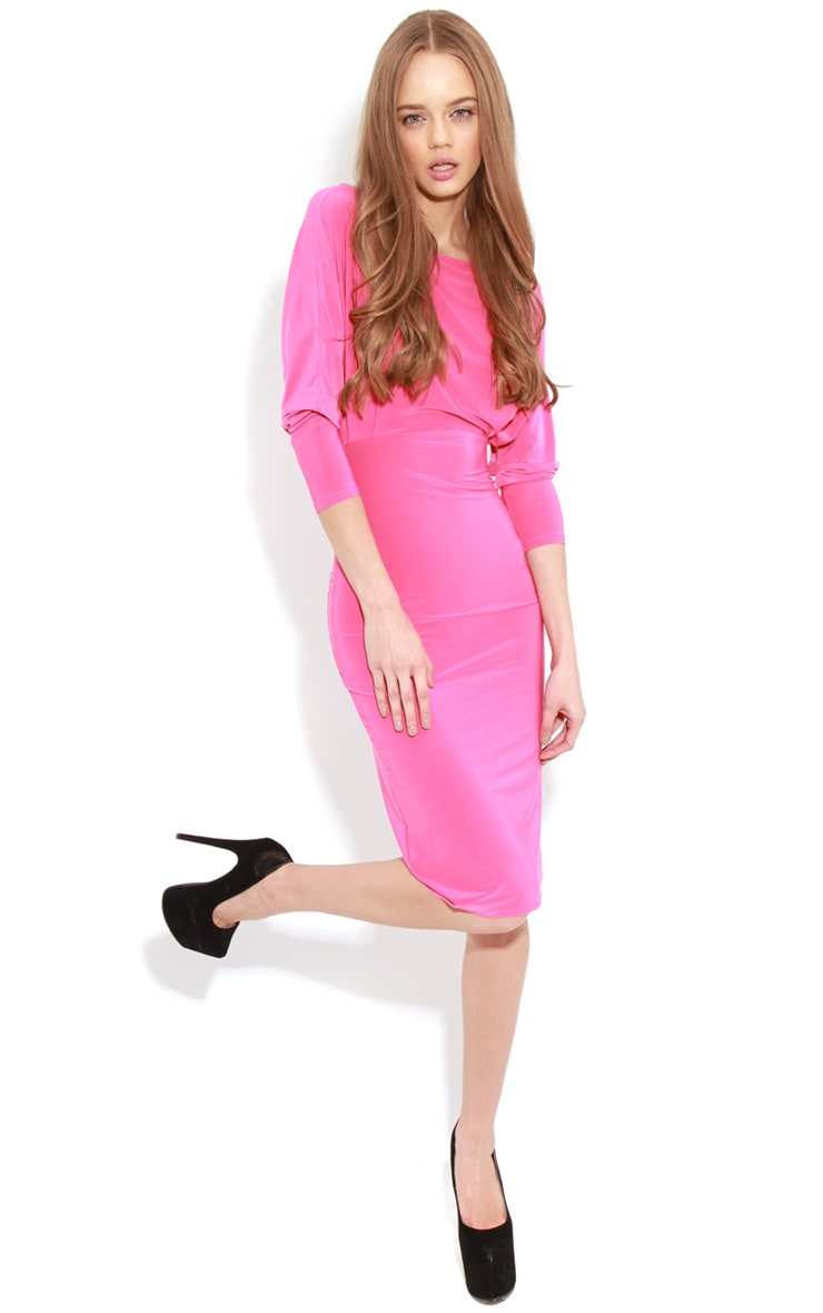 Edan Fuschia Long Sleeve Bodycon Midi Dress  3