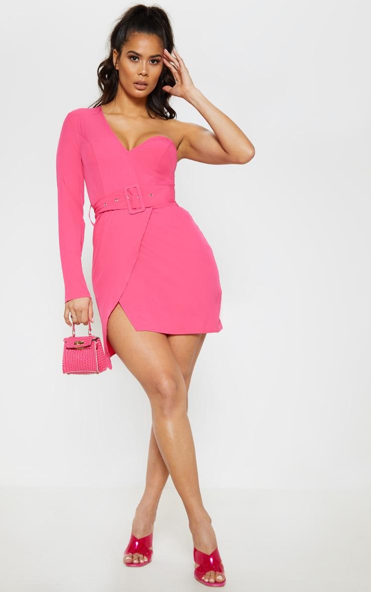 Hot Pink One Shoulder Belted Bodycon Dress 5