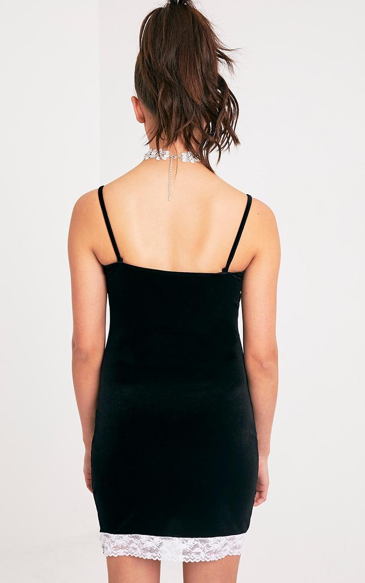 Kasshia Black Velvet Lace Trim Bodycon Dress 2
