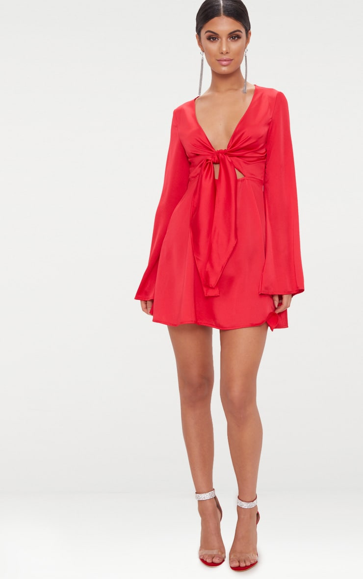 Red Satin Flare Sleeve Knot Detail Plunge Skater Dress 4