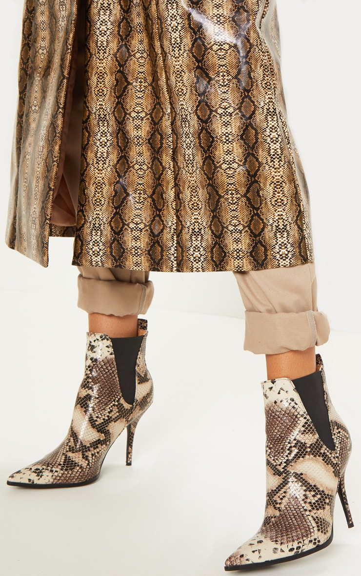 Snake Point Heeled Chelsea Boot