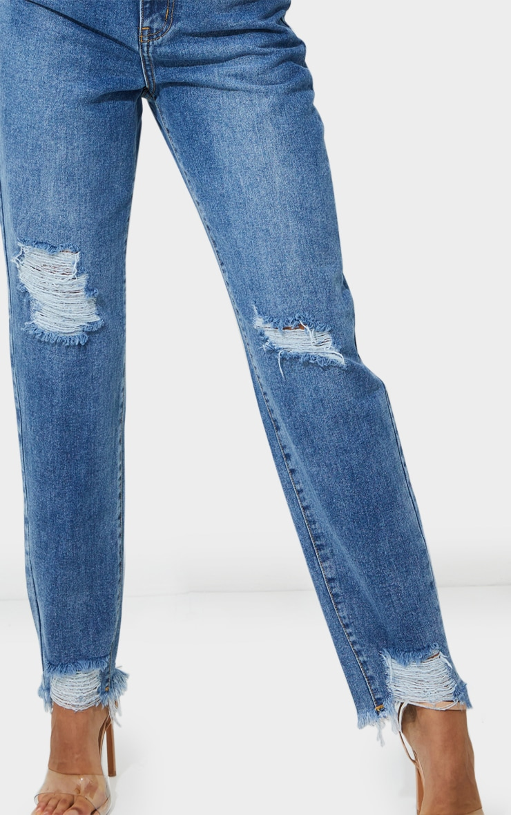 PRETTYLITTLETHING Mid Blue Wash Extreme Distressed Hem Knee Rip Mom Jeans 4