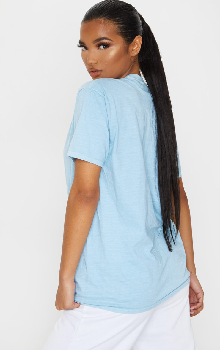 PRETTYLITTLETHING Blue Embroidered Wash T Shirt 3
