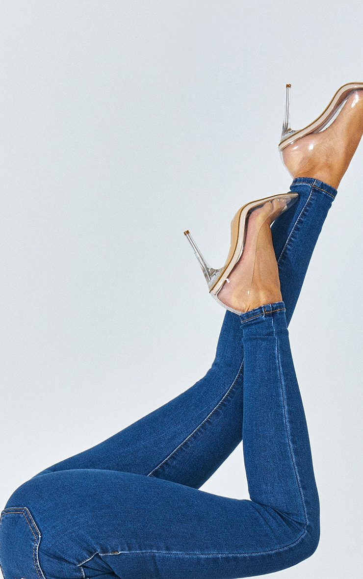 PRETTYLITTLETHING Mid Blue Disco Skinny Jean 4