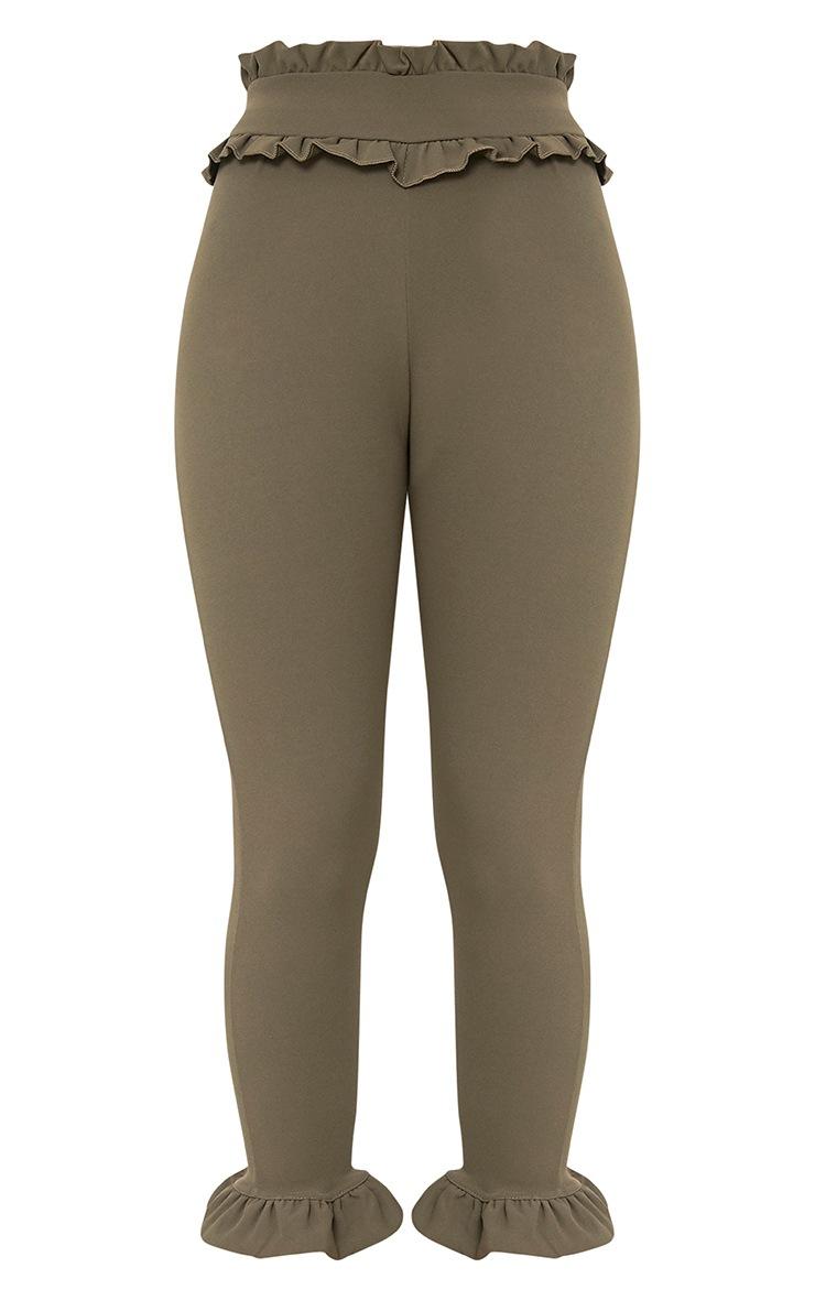 Khaki Keren Frill Hem Trousers 3
