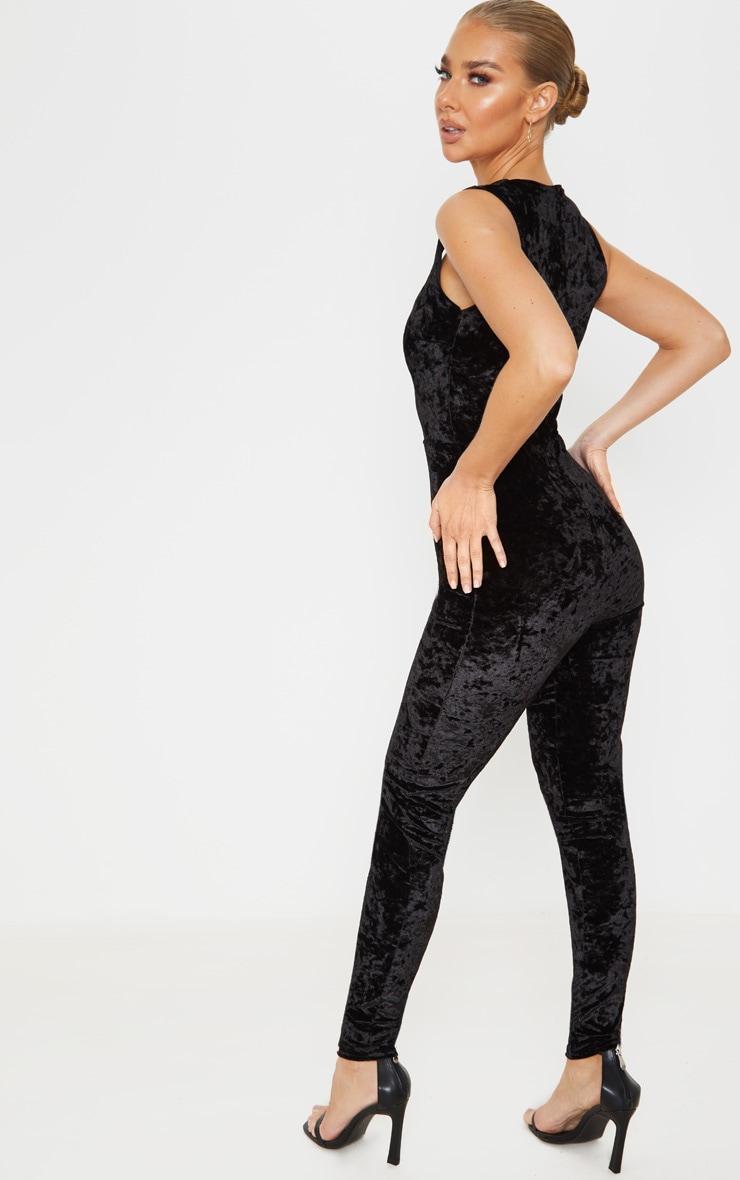 Black Crushed Velvet Sweetheart Neckline Jumpsuit 2