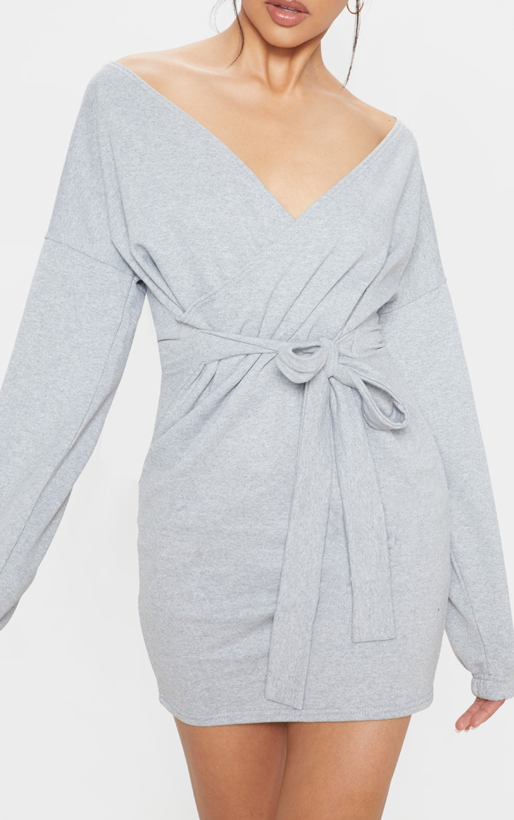 Grey Sweat Wrap Bodycon Dress 5