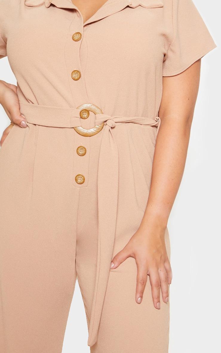 Plus Camel Button Front Belt Detail Jumpsuit 5