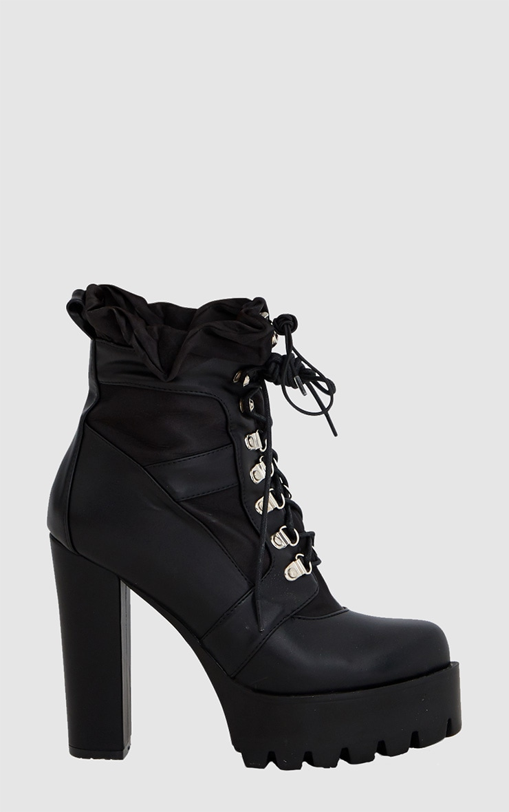 Black Ruched Lace Up Platform Ankle Boots 3
