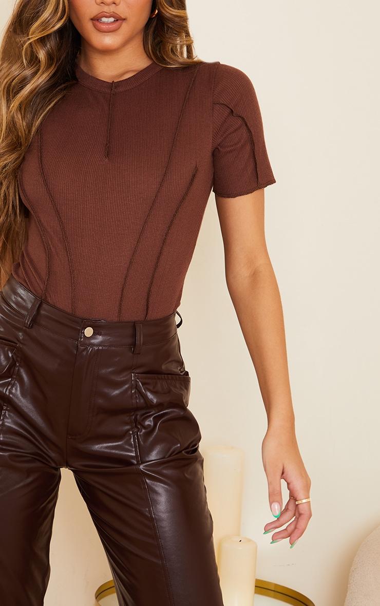 Chocolate Rib Short Sleeve Seam Detail Bodysuit 4