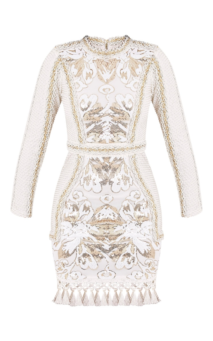Nhyla White Premium Embellished Sequin Bodycon Dress 4