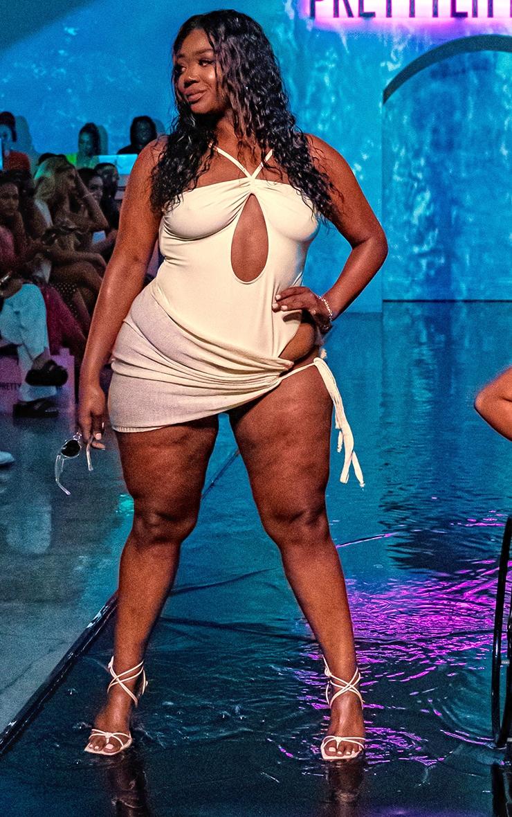 Plus Cream Cut Out Halterneck Swimsuit 3