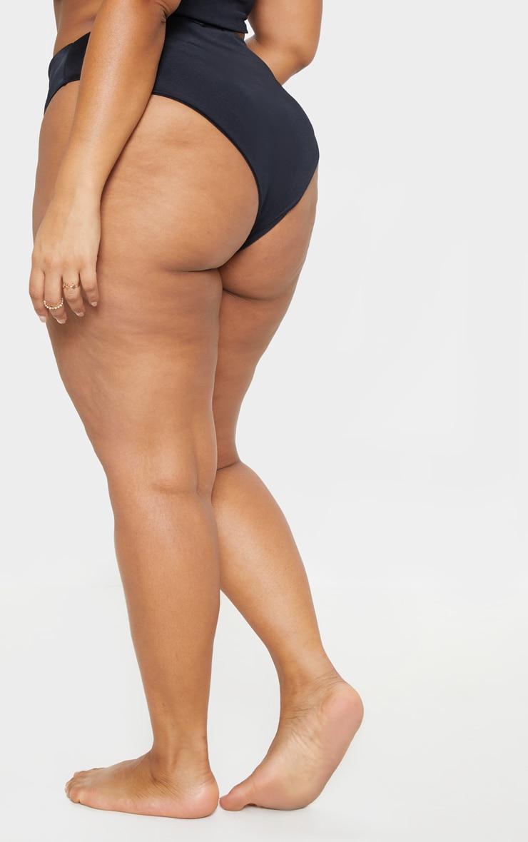 Plus Black High Waist High Leg Bikini Bottoms 4