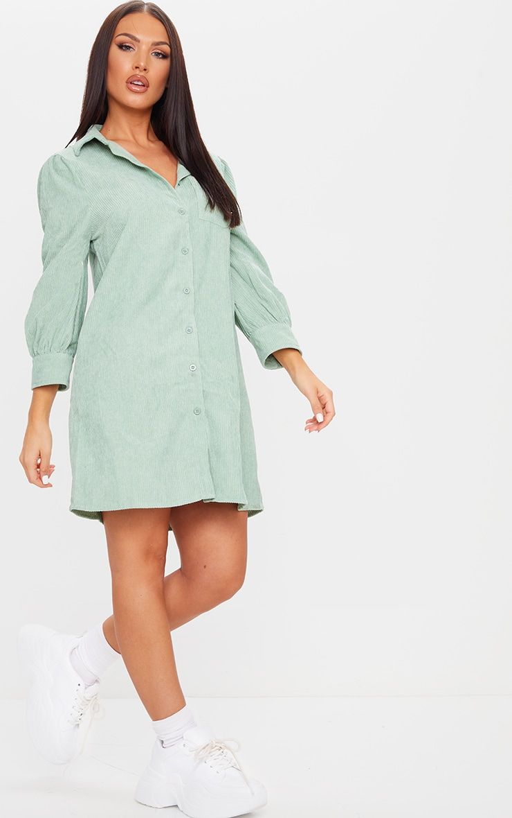 Green Cord Shirt Dress 3