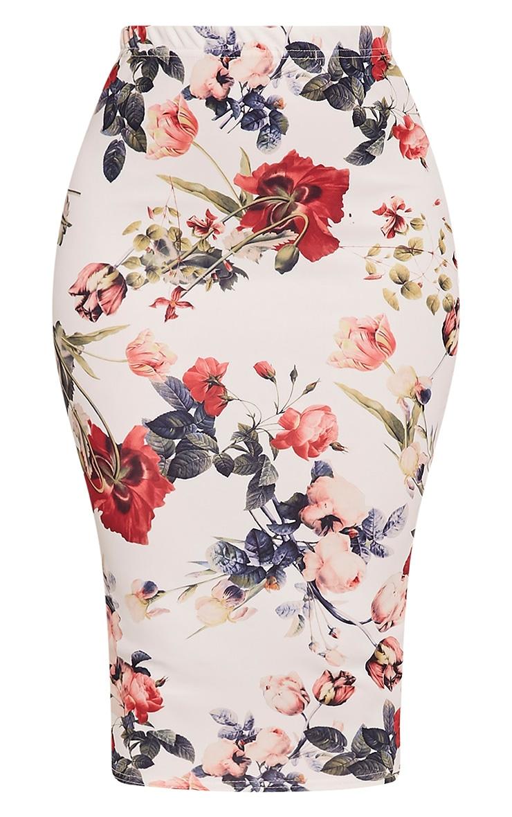 Loran White Floral Print Midi Skirt 3