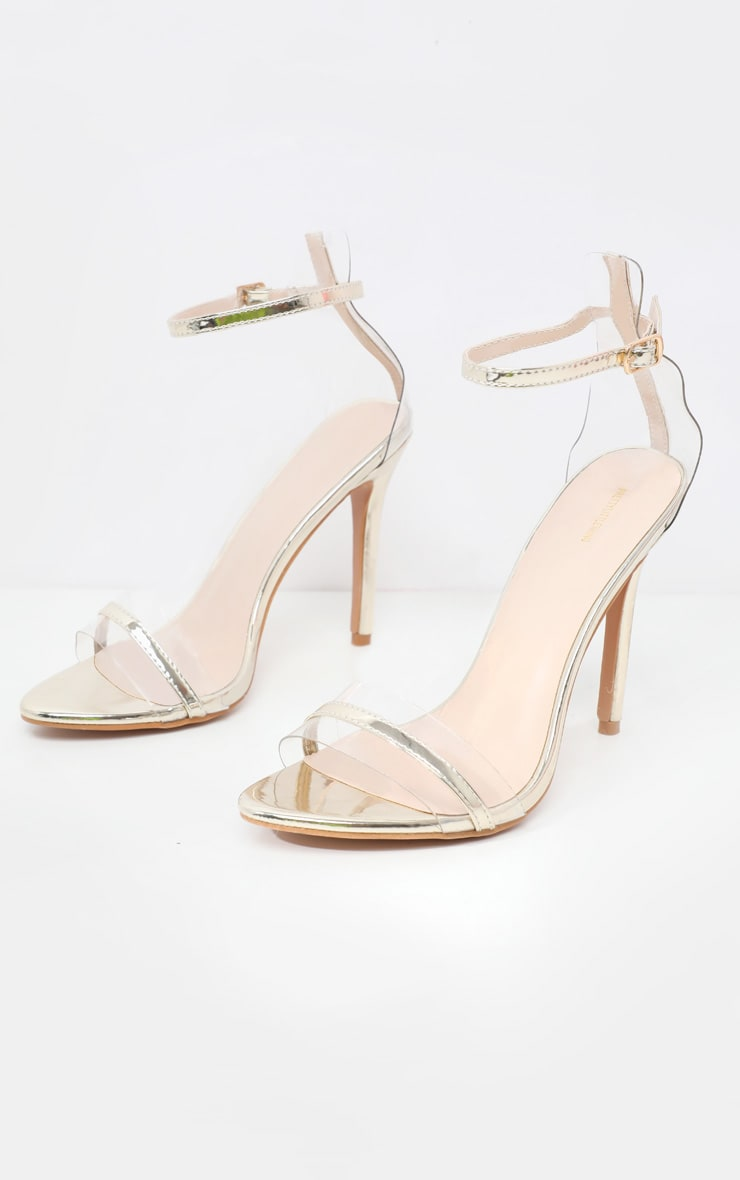 Gold Wide Fit Clear Strap Barely There Sandal 3