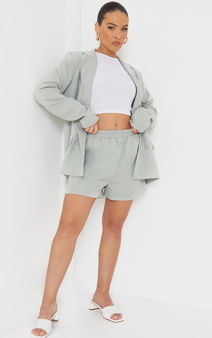 Sage Blue Elasticated Waist Floaty Shorts 1