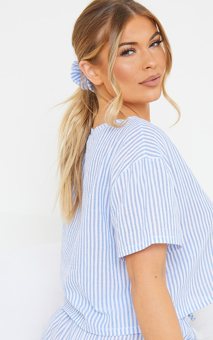 Blue Striped Cotton Cropped Short Sleeve Top And Shorts PJ Set With Scrunchie 4