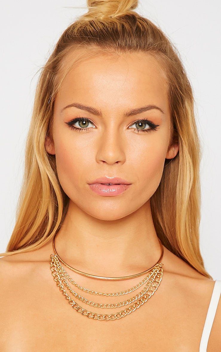 Ferna Gold Layered Chain Choker 1