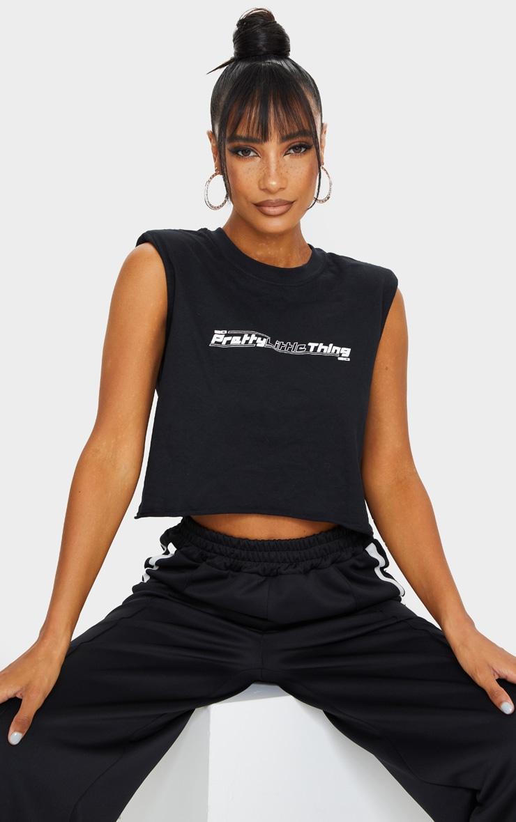 PRETTYLITTLETHING - T-shirt court noir à épaulettes et slogan 1