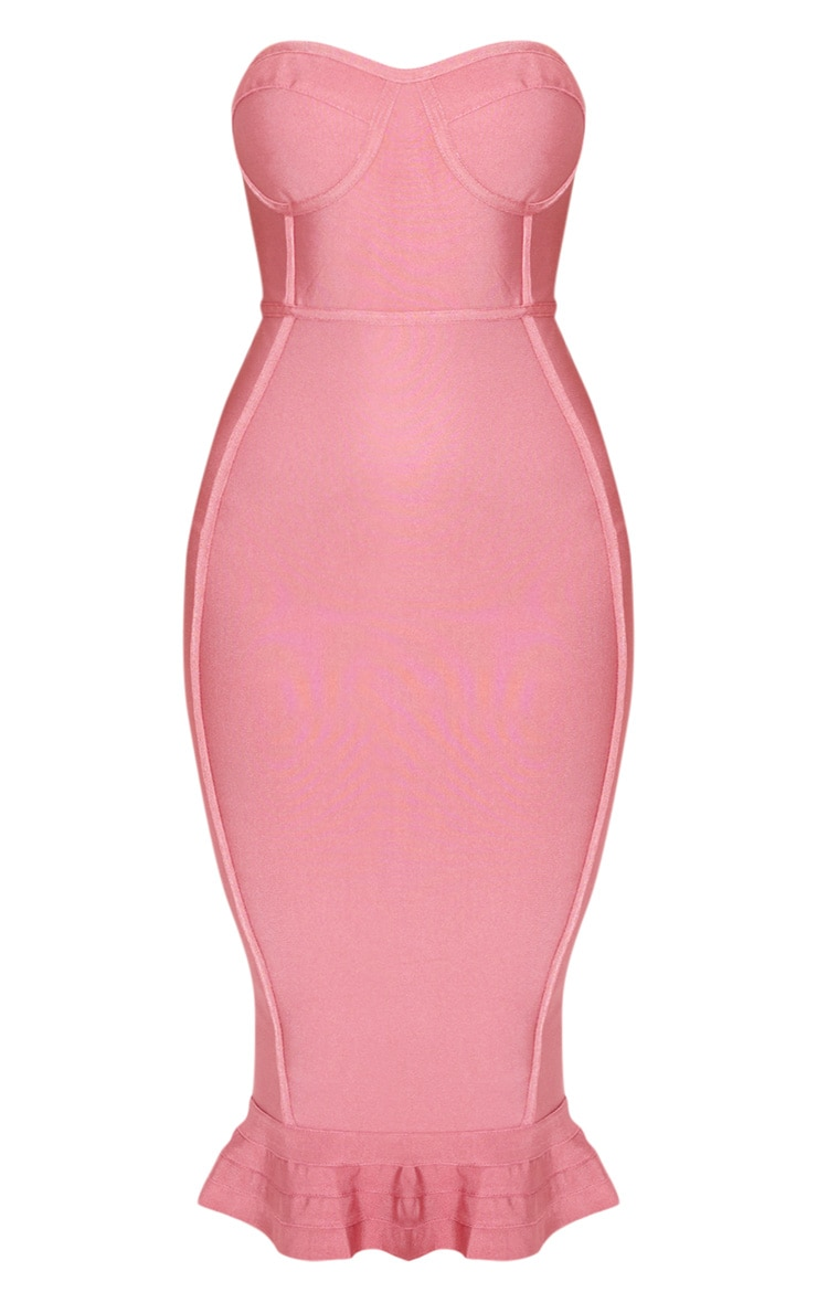 Rose Frill Hem Bandage Midi Dress 3