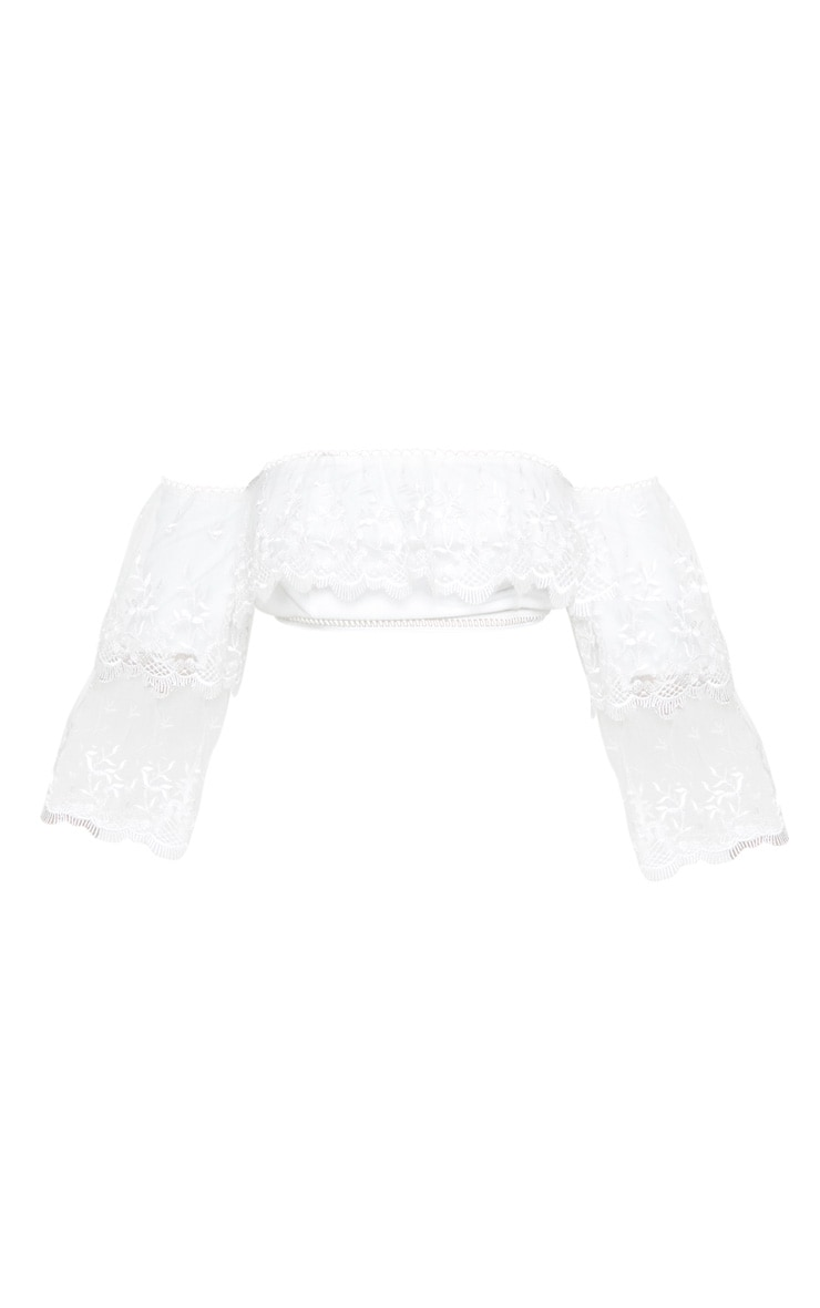 White Mesh Embroidered Bardot Tiered Sleeve Crop Top 3