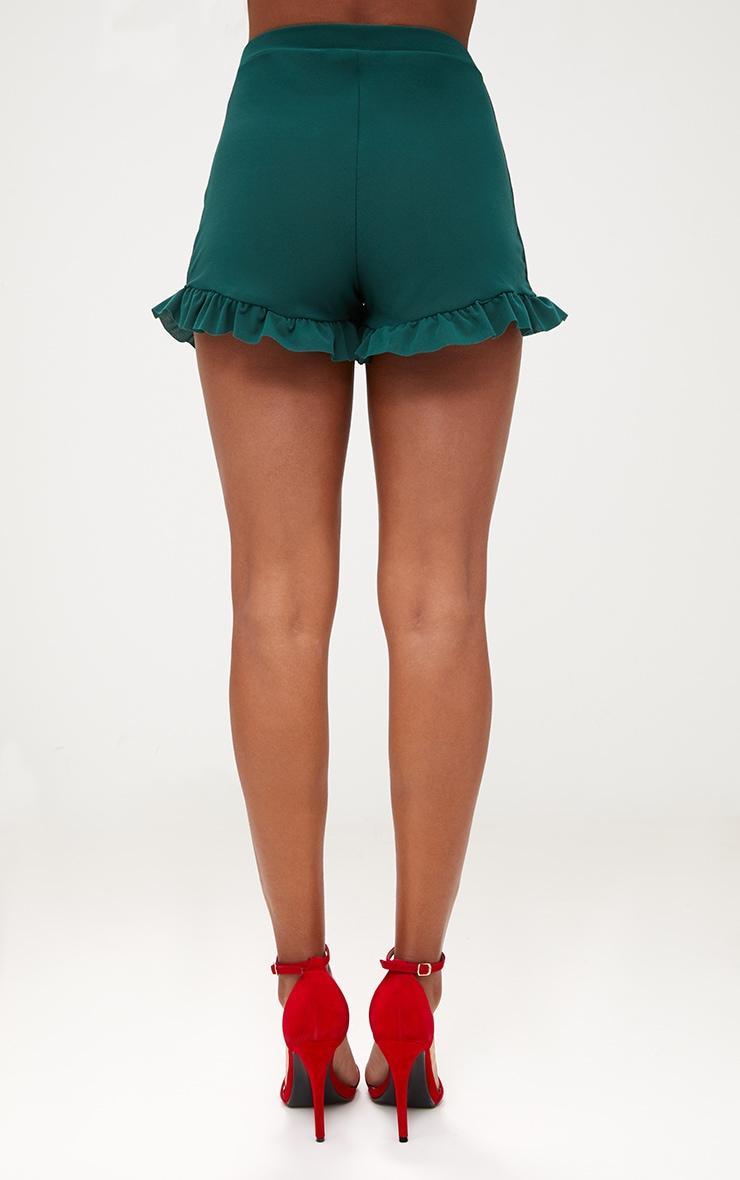 Emerald Green Frill Hem Shorts 4