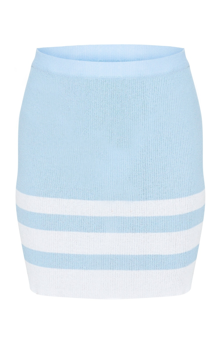 Baby Blue Stripe Fine Knit Mini Skirt 6
