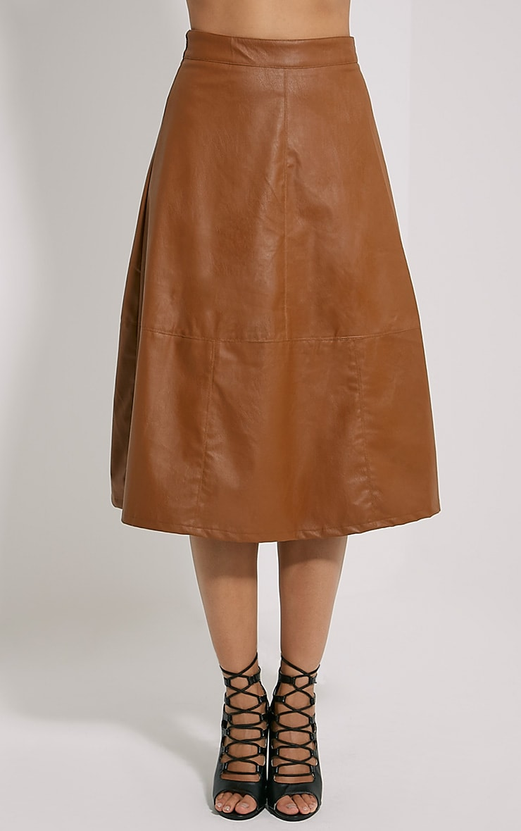 Alison Tan Faux Leather A-Line Midi Skirt 2