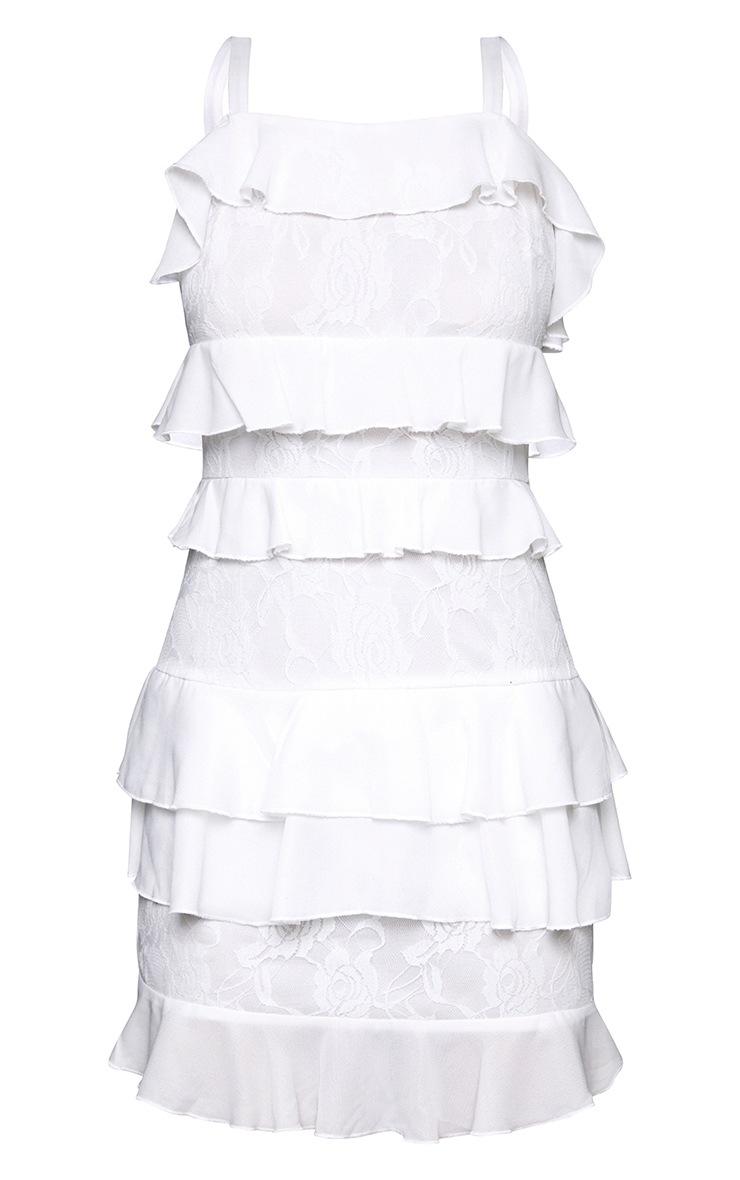 White Lace Ruffle Detail Bodycon Dress 3