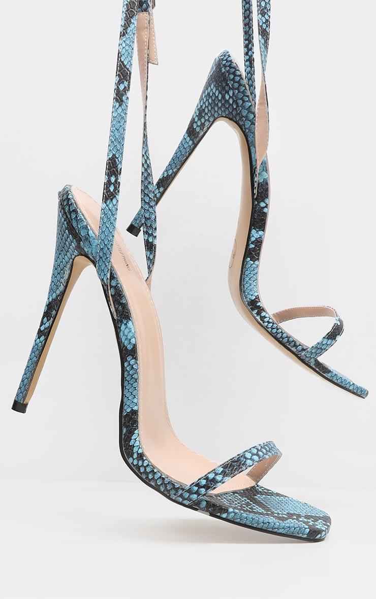 Blue Snake Square Toe Strappy Sandal 4