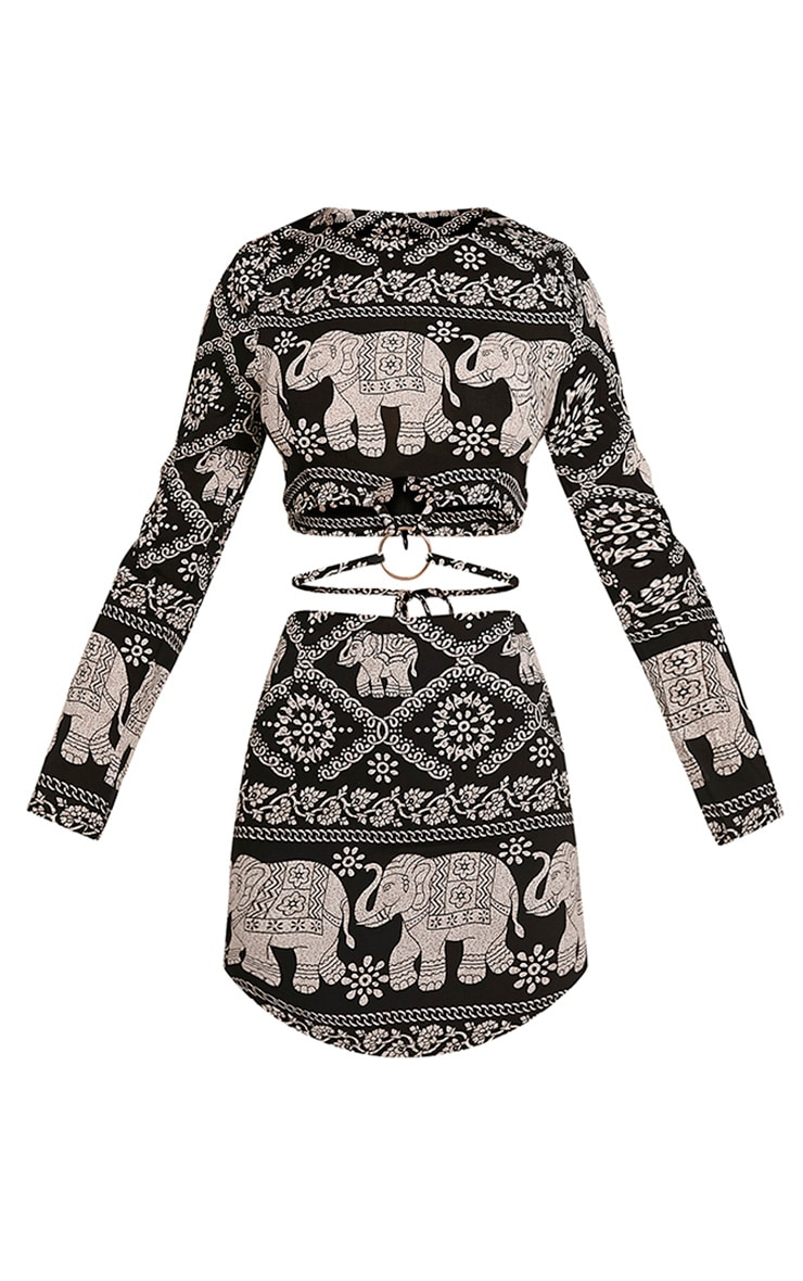 Shola Black Elephant Print Ring Detail Crop Top 3