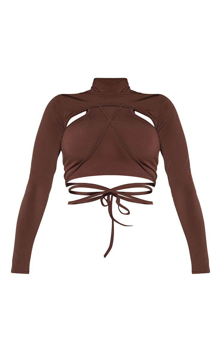 Shape Chocolate Brown Slinky High Neck Cut Out Strap Detail Crop Top 5