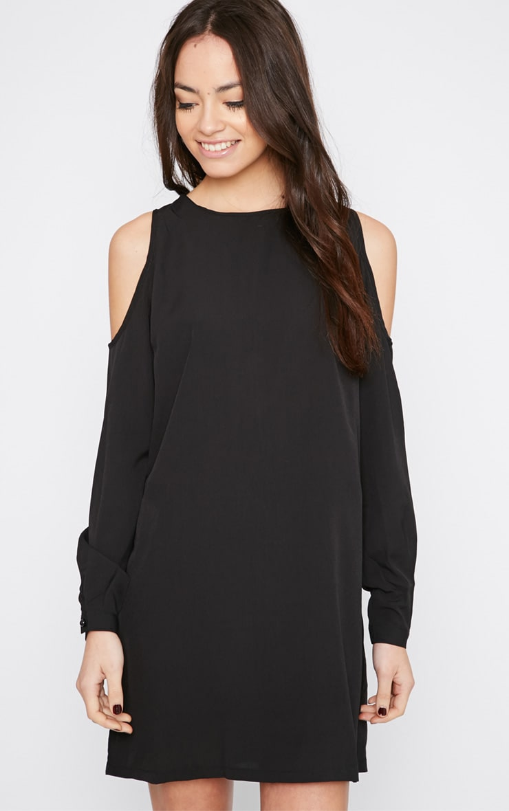 Genny Black Cut Out Shoulder Dress 4