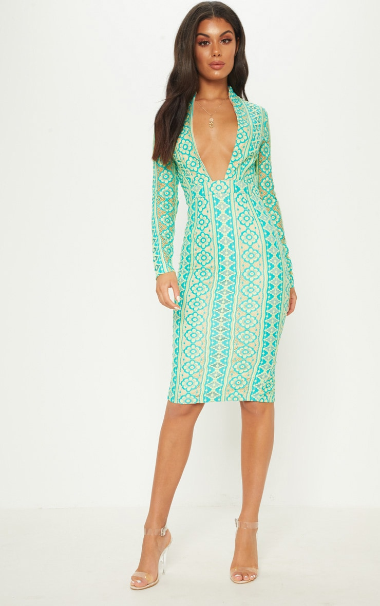 Teal Lace Extreme Plunge Midi Dress