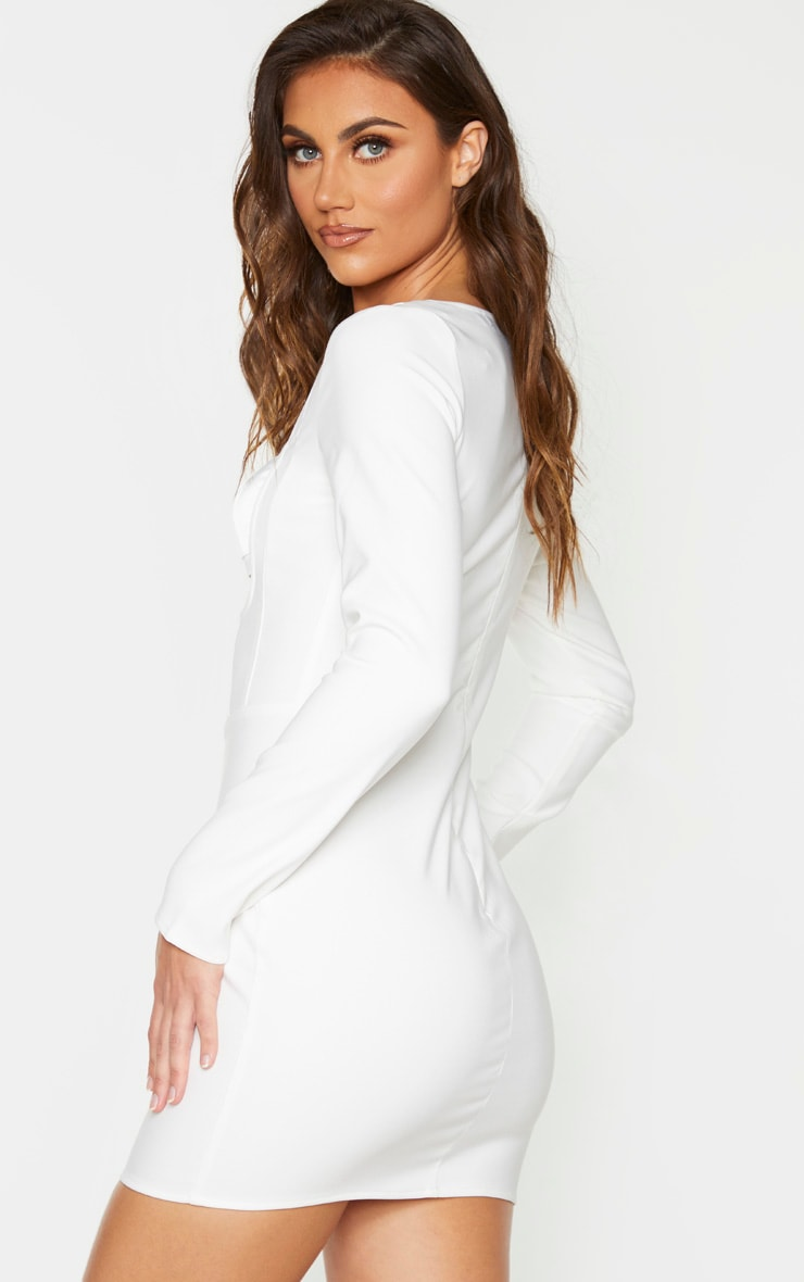 White Long Sleeve Bust Panel Detail Bodycon Dress 2