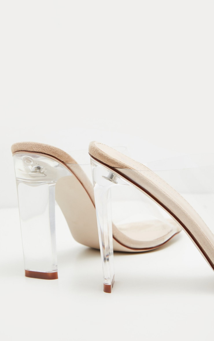 Nude Clear High Flat Heel Mule 4