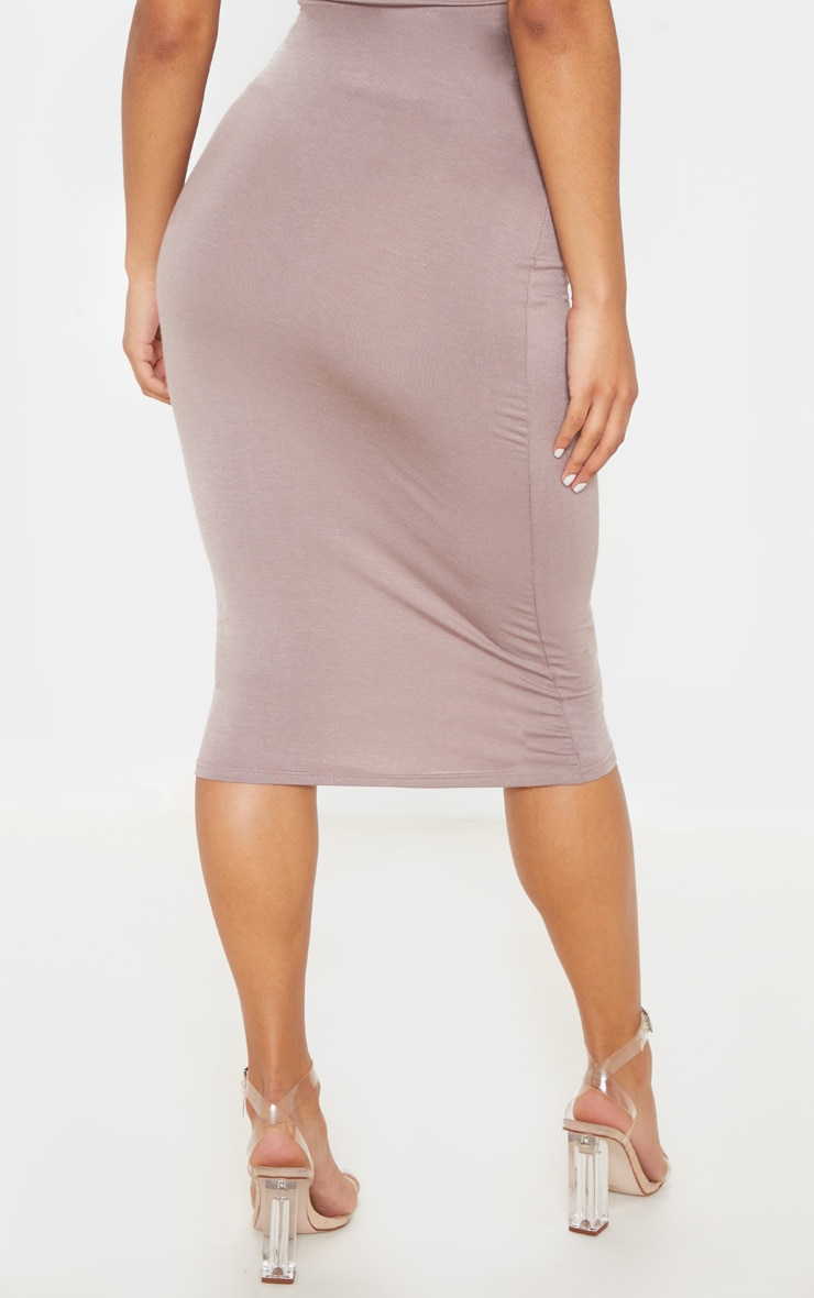 Basic Taupe Long Line Midi Skirt 4