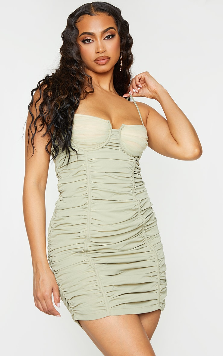 Sage Green Woven Strappy Ruched Mesh Cup Detail Bodycon Dress