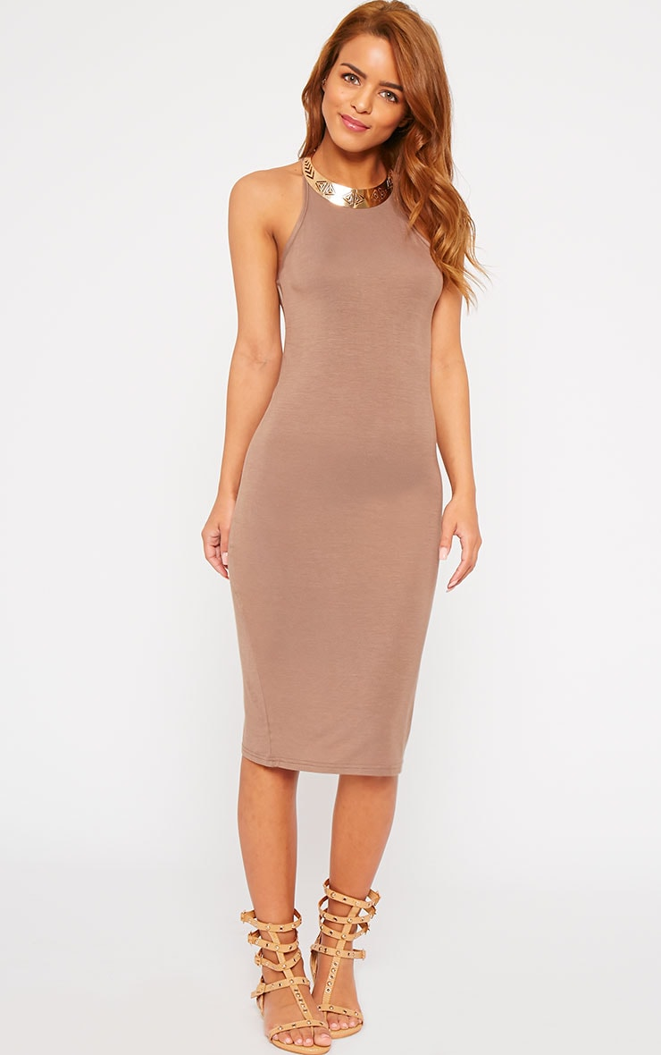Basic Mocha Thin Strap Racer Neck Jersey Midi Dress 3
