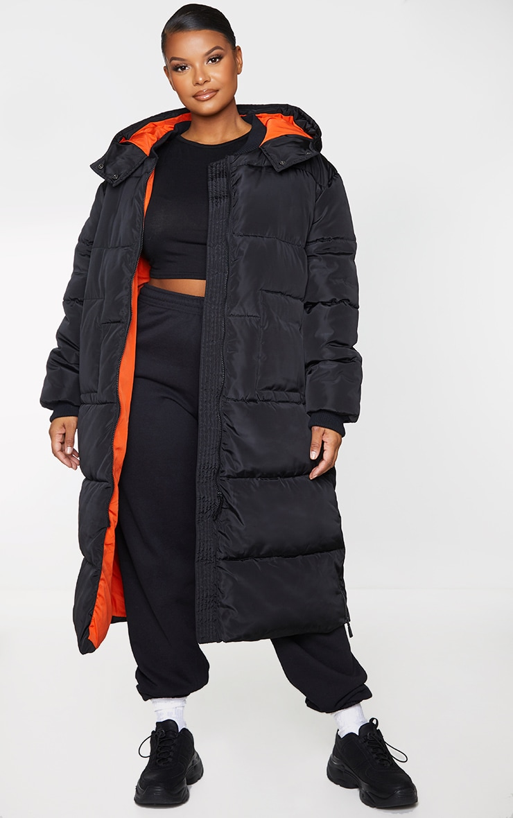 Plus Black Maxi Contrast Hooded Puffer Jacket 1