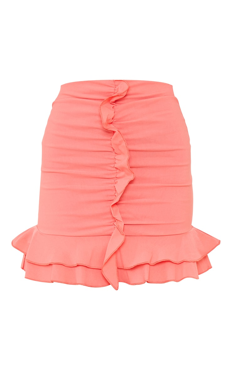 Coral Woven Frill Stretch Ruched Front Mini Skirt 6