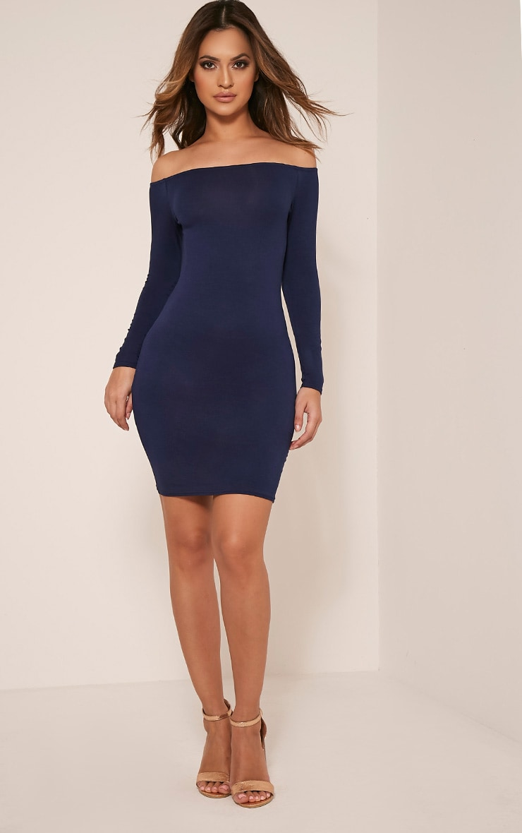 Basic robe moulante bardot bleu marine 5