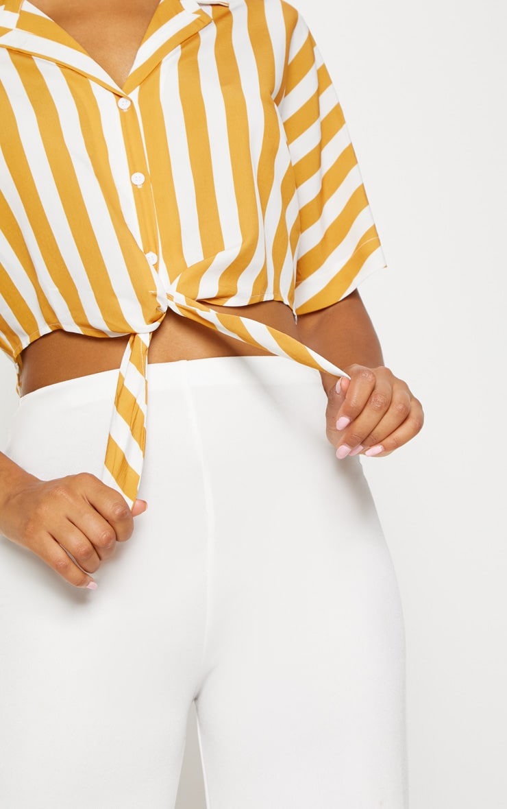 Mustard Stripe Short Sleeve Crop Tie Shirt 5