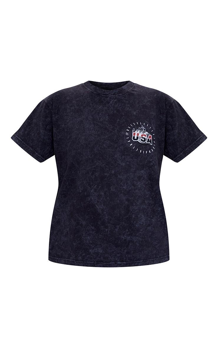 Charcoal USA Netball Printed Washed T Shirt 5