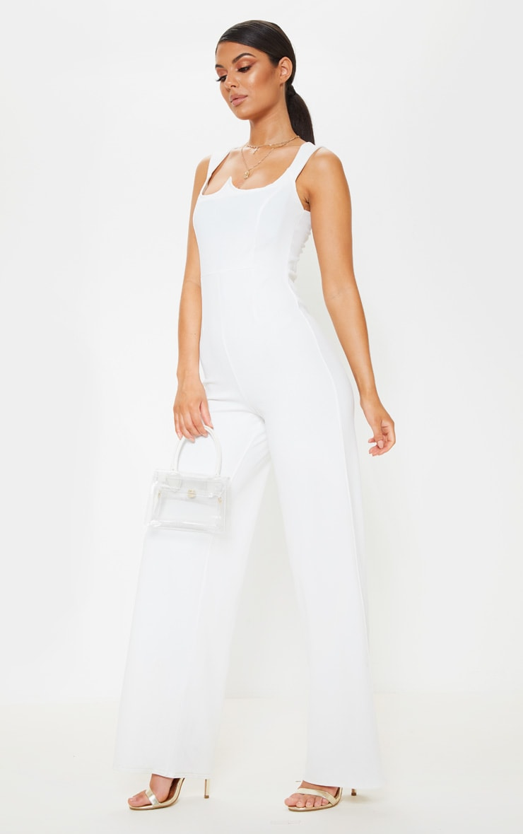 White Structured Bodice Wide Leg Jumpsuit 4